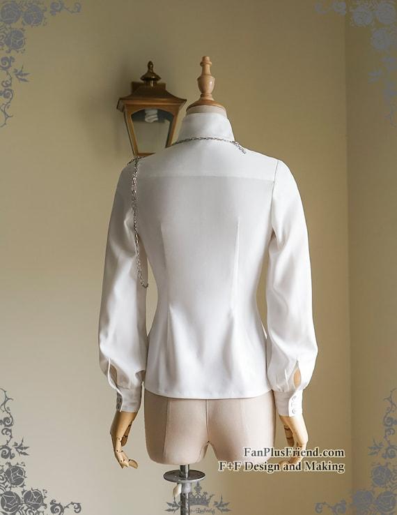 Elegant Gothic Dandy Ouji Stand Collar Unisex Shirt & Handmade Shoulder Chain A3c9AP