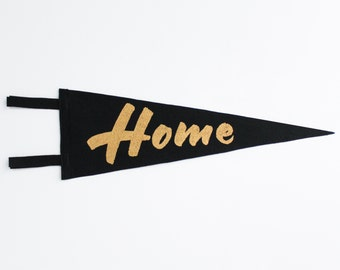 Black and gold felt pennant / screenprint / Home /