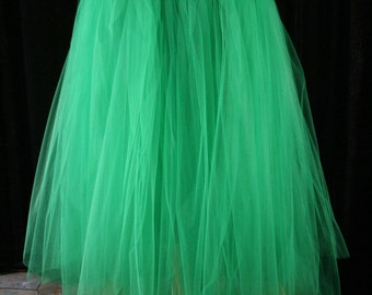 Tulle tutu skirt Green Floor length Adult petticoat two layer dance formal wedding prom fantasy costume -All Sizes - Sisters of the Moon