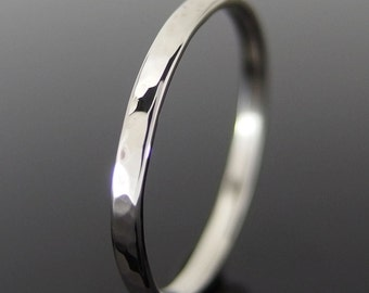 14k White Gold Wedding Ring, Hammered 14k Gold Ring, White Gold Wedding Ring, White Gold Wedding Band, 2 x 1 mm