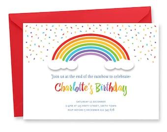Rainbow Birthday Party Invitation Digital Printable Rainbow