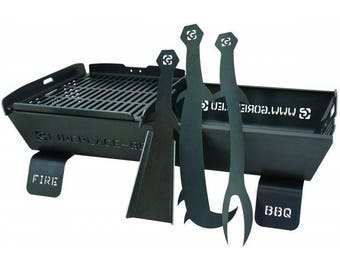 BBQ Outdoor Steel Fire Pit - BBQ ,Large Grill 80 x 50 cm