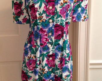 Vintage 1980's Floral Short Sleeve Party Dress - Size Small