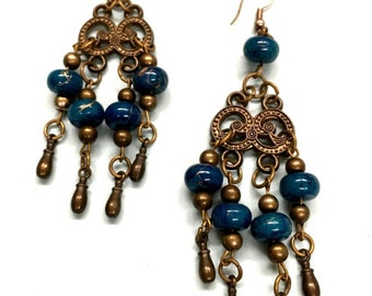 Gypsy Belly dancer dangle blue and bronze colored earrings