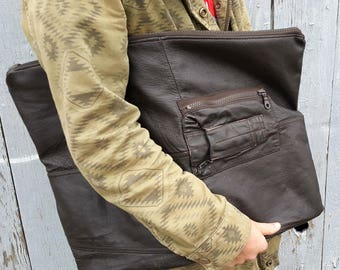 Denisse - Brown Leather Clutch, Oversized Leather Clutch, Upcycled Leather Purse, Repurposed Leather Purse, Oversized Purse, Brown Clutch