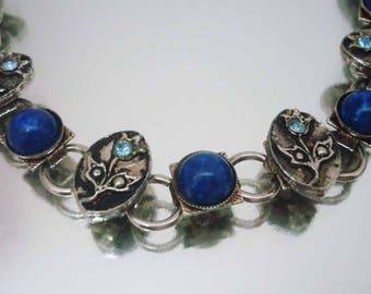 Blau Strass Blume Armband Jahrgang Lapis? Blaues Armband Strass Armband Blume Armband Lapis? Armband