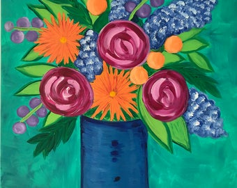 Flower Arrangements. Original Acrylic Painting. Flowers. Whimsical painting.