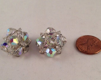 Vintage Crystal Clip on Earrings .75 Inches Tall and Wide Previously Twenty Four Dollars ON SALE