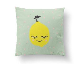 Lemon Pillow, Kids Pillow, Home Decor, Cushion Cover, Throw Pillow, Bedroom Decor, Bed Pillow, Decorative Pillow, Nursery Decor, Kitchen Art