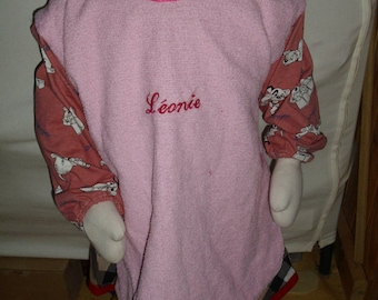 Bib / apron with custom sleeves, birth, baptism, birthday gift