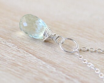Prasiolite Teardrop Pendant in Sterling Silver, Rose or Gold Filled. Green Amethyst Gemstone Necklace Charm. Wire Wrapped Womans Jewelry