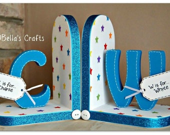 Personalised Rainbow Bookends with initials for children. Set of 2 bookends with rainbow stars and initials