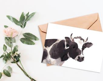 Printable Card, printable, note card, note cards, printables, printable cards, cow, cow print, thank you cards, thank you, thank you notes