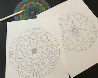 Adult Coloring Pages - 2 Relaxing Hand Sketched Mandala Designs