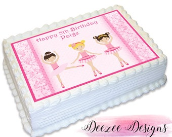 Ballerina Personalised A4 Edible Icing Cake Topper