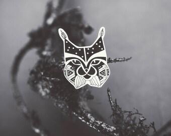 Lynx wild cat brooch, handmade jewelry, drawing, black and white, animal