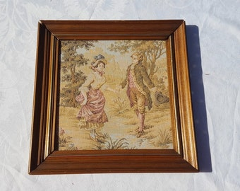 French Vintage boudoir Tapestry, Wall Hanging romantic scene couple of lovers,wooden framed tapestry