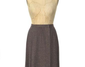 vintage 1970's ELLEN TRACY wrap skirt / wool blend / pleated skirt / tweed skirt / women's vintage skirt / tag size 6