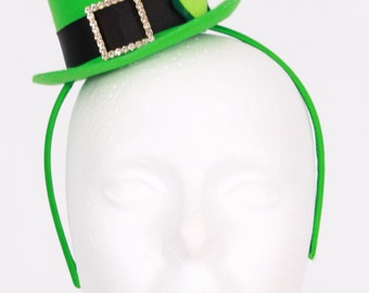 READY TO SHIP: Lucky Leprechaun Mini Top Hat Headband - Green - Fits toddler to adult - Cutie Patootie Designz