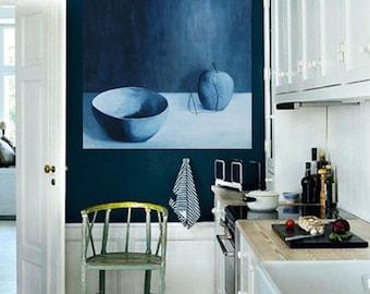 Surreal Apple Still Life - Blue Monochromatic Simple Minimal Surreal Botanical Still Life Original Acrylic Painting