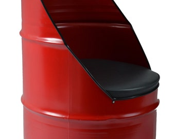 Industrial Furniture Barrel Chair w/ vinyl padded seat. Red in color