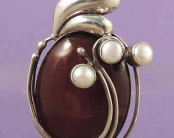 925 Sterling Silver Carnelian Pearl Pendant Brooch / Modernist Sterling Carnelian Brooch / Contemporary Style Sterling Carnelian Brooch