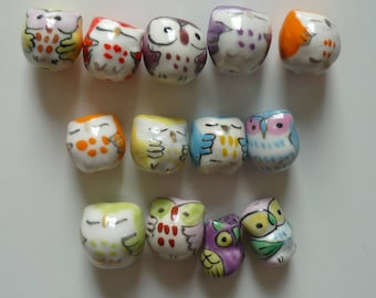 Set of 13 owls beads, clay beads