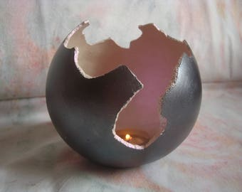 Lumin' mother of Pearl light pink egg, handmade candle