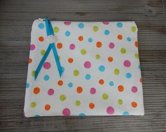Convenient flat clutch with polka dots