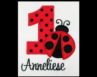 Custom Personalized Applique Birthday Number LADYBUG and NAME Shirt or Bodysuit - Red and Black Polka Dot