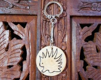 """4"""" Porcupine Keychain - Wood Burned Keychain, Pyrography Art, Wood Keychain, Porcupine"""