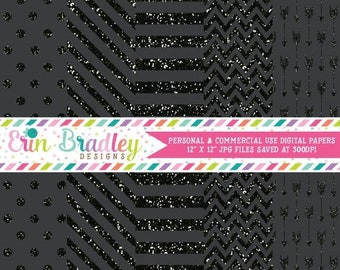 80% OFF SALE Black Glitter Digital Paper Pack Stripes Polka Dots Arrows and Chevron Glitter Digital Scrapbook Paper