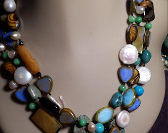 Three strand Semi-precious stone designer necklace