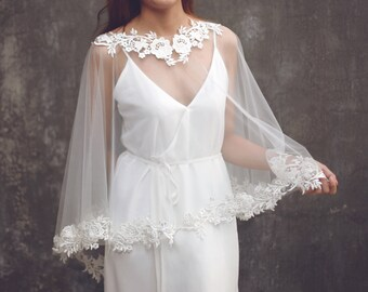 "Bridal Separates, Custom Bridal Separates, Wedding Dress Cape ,Bridal Capelet, Wedding Dress Capelet, Lace Wedding Bolero / ""Cape 91"""