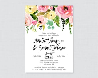 Pink and Yellow Floral Engagement Party Invitation Printable or Printed - Modern Flower Engagement Party - Pink Yellow Green Invite 0031-A