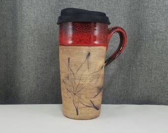 IN STOCK** Pottery Travel mug / Commuter mug with silicone lid - Leafs - Candy Red - Leafs