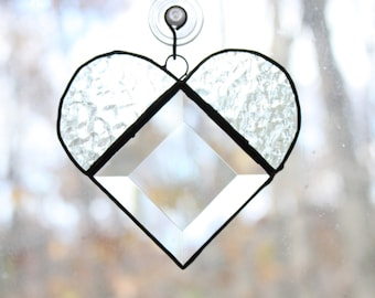 Handmade Stained Glass Bevel Heart Suncatcher
