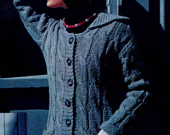 Cable Cardigan Sweater and Hat Vintage Knitting Pattern Instant Download