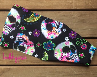 Sugar Skulls Headbands, Biker Headbands, Skulls Headbands, Black Skulls Headbands, Fitness Headbands