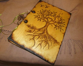 A4 Sized - Two Ring Wood Binder - Decorated with Pyrography