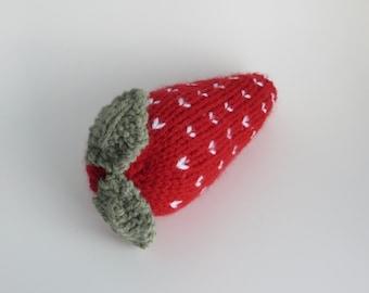 Hand knitted strawberry pincushion