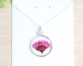 Plum Chrysanthemum Mum Pressed Flower Necklace