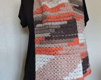 Light colors fall openwork crochet acrylic mohair scarf