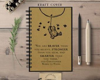 Winnie the Pooh Notebook, Cute Notebook, Spiral Notebook, Bullet Journal, Writing Notebook