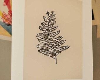 Fern Frond Linocut Block Print