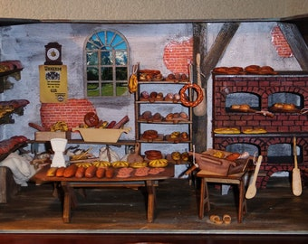 Bakery as from Bygone times doll house 1:12 miniature