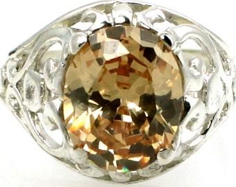 Champagne CZ, 925 Sterling Silver Ring, SR004