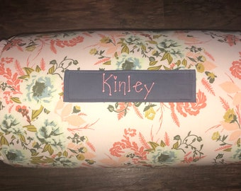 """Personalized Preschool Nap Mat in Wild Posy Floral with Removable Pillow,  blanket and 1"""" memory foam"""