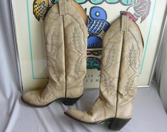 Vintage Skinny Leg Leather Cowboy Boots / size 6 B Eu 36 UK 3 .5 / Ivory White Gray Western Cowgirl Rockabilly / SANDERS Handmade