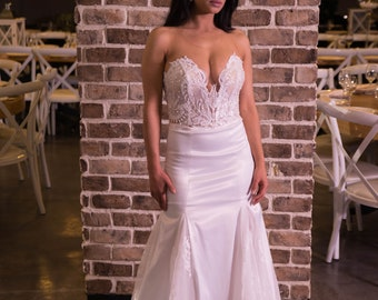 Mermaid long tail sleeveless corset Wedding Dress from our 2018 bridal dress collection